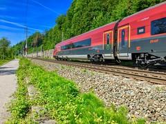 ÖBB railjet express train passing the river Inn near Kufstein, Tyrol, Austria (UweBKK (α 77 on )) Tags: öbb österreich railjet express train railway rail river inn valley kufstein tyrol tirol austria europe europa iphone travel transport