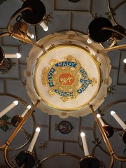 The ceiling of the Great Chamber was much damaged by fire in 1941 and reconstructed after the one unharmed section (photo by Valerie Schreiner)