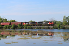 The Beat Goes On (view2share) Tags: cn5408 cn5449 cn canadiannational newrichmond wisconsin wi eastbound emd electromotivedivision engine evening 516 l516 cn516 cnl516 minneapolissub spring springtime summer water waterfront river pond reflection sd60 trains train track transportation tracks transport trackage trees freight freighttrain freightcar freightcars railway railroading rr railroads rail railroad rails railroaders rring rural deansauvola stcroixcounty june72019 june2019 june 2019 causeway locomotive local hoppercar hopper coveredhopper coveredhoppercar