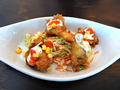 Fried Oysters (knightbefore_99) Tags: vancouver eastvan commercialdrive tasty awesome oyster bar harbour bc thedrive fried batter salsa corn tomato delicious great appy quartet