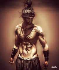 Bad now ♥♥ (slash marciano) Tags: me alone juna artistic tattoo men shi bracers hair man pant grey pose tag music ombre shadow portrait brown bad now second life secondlife