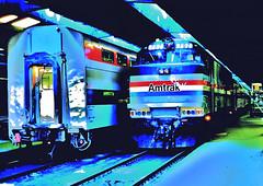 Amtrak 702 (GE P30CH) @ CUS (1980) (hardhatMAK) Tags: amtk702 amtrak unionstation chicagoil 11221980 5311980 scannedslide kodachrome64 continentialdividemovie gep30ch bilevelcommutercar