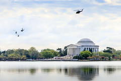 Guarding the Jefferson Memorial (Robert F. Carter) Tags: clouds helicopters jeffersonmemorial lakes washington washingtondc water districtofcolumbia unitedstatesofamerica choppers cloudyday cloudydays memorials