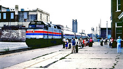 "Amtrak ""Ann Rutledge"" @ Springfield IL (1981) (hardhatMAK) Tags: amtk261 amtrak emdf40ph northbound 8161981 springfieldil scannedslide kodachrome64 passengers stationplatform amfleetcoaches annrutledge"