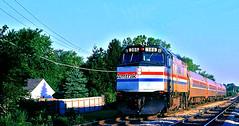 "Amtrak ""Radisson"" @ Glenview IL (1981) (hardhatMAK) Tags: amtk386 amtrak emdf40ph radison glenviewil 9121981 scannedslide kodachrome64"