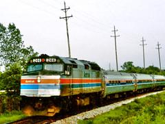 "Amtrak ""Black Hawk"" @ Villa Park, IL (1980) (hardhatMAK) Tags: amtk244 amtrak emdf40ph blackhawk villaparkil 5311980 scannedslide kodachrome64 amfleetcoaches"