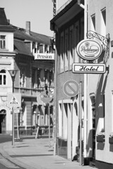 Signs in the small town (www.holgersbilderwelt.de) Tags: radeburg town small beautiful white light black street architecture art building germany europe outdoor monochrome way fine shadow amazing kunst scenic historic culture classic traditional public perspective saxony tradition sachsen schwarzweiss lausitz aperture