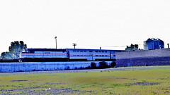 "Amtrak ""Calumet"" @ 35th Street Chicago IL (1981) (hardhatMAK) Tags: amtk645 amtrak emdssp40f calumet bilevelcommutercars 35thstreet southbound chicagoil 8211981 scannedslide kodachrome64"