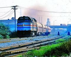 """Amtrak """"Ann Rutledge"""" @ Chicago IL (1981) (hardhatMAK) Tags: amtk246 amtrak emdf40ph annrutledge archeranddamen 821981 scannedslide kodachrome64 chicagoil"""