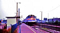 "Amtrak ""North Star"" @ Mayfair station Chicago IL (1981) (hardhatMAK) Tags: amtk249 amtrak emsf40ph northstar eastbound mayfairstation chicagoil 9131981 scannedslide kodachrome64"