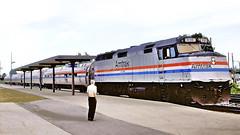 "Amtrak ""Lake Cities"" @ Hammond-Whiting IN (1986) (hardhatMAK) Tags: amtk316 amtrak emdf40ph eastbound lakecities hammondwhitingin 8241986 scannedslide kodachrome64 amfleetcoaches stationplatform"