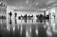 Get to the point (PeterThoeny) Tags: sanfrancisco california usa sanfranciscobay sanfranciscobayarea sfmoma sanfranciscomuseumofmodernart museum room hallway floor people silhouette lights art indoor reflection monochrome blackandwhite sony a7 a7ii a7mii alpha7mii ilce7m2 fullframe vintagelens dreamlens canon50mmf095 canon 1xp raw photomatix hdr qualityhdr qualityhdrphotography fav200
