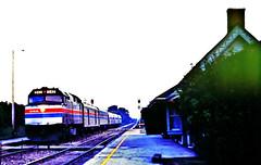 """Amtrak """"North Star"""" @ Golf IL (1981) (hardhatMAK) Tags: scannedslide kodachrome64 amtk242 amtrak northstar emdf40ph golfil 9121981 westbound"""