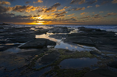 Apollo Sunrise (dave.fergy) Tags: reflection beach clouds sunrise dawn coast rockpool seascape god fingers