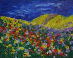 Hillside Flowers (BKHagar *Kim*) Tags: bkhagar art artwork artday paint painting acrylic hill hillside flowers floral mountain impressionist