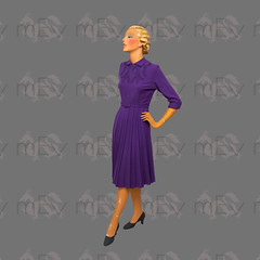 1940s Violet Wool Dress with Embroidery (Rickenbackerglory.) Tags: vintage 1940s siegel mannequin violet wool dress embroidery