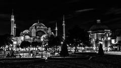 1087-89H Hagia Sophia by night (3) (foxxyg2) Tags: churches chapels cathedrals museums history greece greek classics turkey turkish ottoman middleages hdr niksoftware silverefex mono monochrome bw blackwhite istanbul hagiasophia