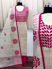 Lovely Cream Color Partywear Embroidered Chanderi Silk Dress Material (zeelpin) Tags: wedding partywear exclusive event zeelpin special sales morden style purchase demand traditional tranding royalty colourful popular glamour currant branding discount b4ufashion indianfashion look