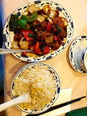 Duck (Roy Richard Llowarch) Tags: food chinatown chinese rice duck onions peppers tea jasminetea soho blackbeans roastduck chinatownlondon lovelondon london oriental eating lunch dinner goodfood chinesefood chinesemeal royllowarch royrichardllowarch chineserestaurants