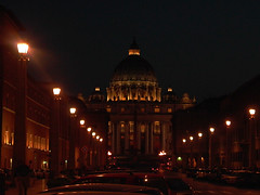 St. Peter's Basilica at Night (Serendigity) Tags: italy rome stpetersbasilica dome evening lights night