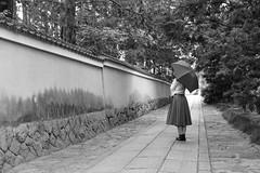 A cobbled street (yukky89_yamashita) Tags: 京都 建仁寺 石畳 kyoto japan street portrait cobble stone road wall temple monochrome