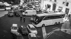 Morning traffic in Rome, Italy 25/3 2012. (photoola) Tags: rom sv traffic blackandwhite monochrome photoola italy bus car police