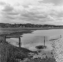Salthouse Marsh : Rollei Hy6  80mm 2.8 Schneider (adamnsinger) Tags: rolleiflex rollei hy6 kodak 100 t max tmax salthouse marsh norfolk 80mm 28 schneider black white landscape 120 medium format film