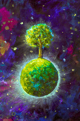 Painting oil - green planet with tree in cosmos, planets in space - stars illustration for fairy tale, space plot fabulous worlds - modern art impressionism galaxies landscape acrylic paint artwork (Painting by Rybakow) Tags: painting oil greenplanet tree cosmos planets space stars fairytale fabulous worlds spaceart fantasy art modern impressionism abstract landscape acrylic paint artwork