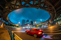 Urban City Night (aotaro) Tags: nightview minatomirai worldporters kanagawa sony circlefoorbridge landmarktower yokohama night samyang12mmfisheye ilce7m3 rainy circlewalk nightphotography a7iii japan redcar
