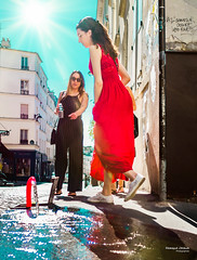 Street - Many rivers to cross (François Escriva) Tags: street streetphotography paris france people candid olympus omd photo rue woman colors sidewalk water foutain red blue dress mother daughter girl black sky sneakers sun light building montmartre abbesses rays