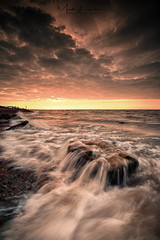Cliff End Sunrise (Mark Leader) Tags: cliff end hastings ocean morning sea sky white seascape colour texture beach water clouds sunrise flow dawn coast rocks warm waves glow dynamic vibrant tide dramatic overcast cliffs boulders coastal filter shore level incoming eastsussex foreground fairlight ndfilter pett a7iii ak