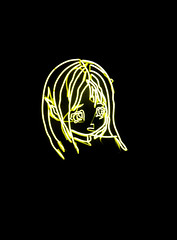 The Blonde Girl (Steve Taylor (Photography)) Tags: art black contrast yellow white girl uk gb england greatbritain unitedkingdom london lines glow tatemodern neontubes artgallery