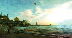 Against The Wind (larisalyn (Rachel)) Tags: otter kite wind boat lighthouse sunset sunrise ocean secondlife painting