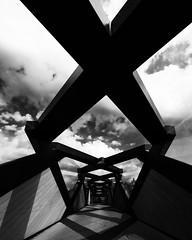 Weave Bridge (Dalliance with Light (Andy Farmer)) Tags: architecture abstract sky weavebridge bw monochrome philadelphia philly pennsylvania unitedstatesofamerica