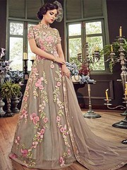 Grey Partywear Embroidered Georgette Anarkali Suit (zeelpin) Tags: partywear wedding special zeelpin demand sales latest morden style event purchase traditional royalty tranding branding currant colourful glamor popular indianfashion discount look glamour b4ufashion