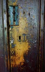 cloister door (Mr Ian Lamb 2) Tags: historic door ancient cathedral durham cloister handle lock keyhole patina wood iron