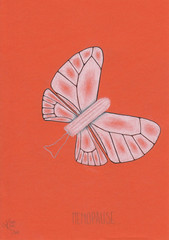 Menopause. (Klaas van den Burg) Tags: white black grey coloredpencils humor tampon menopause butterfly caterpillar orange
