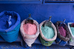A little color for a rainy weekend (Irina1010) Tags: colors pigments pink blue green beautiful canon colorful morocco mauve medina souks chefchaouen pouches streetvendor 2019 powders coth5