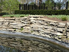Lombard, IL, Lilacia Park, Spring, Pool Reflection with Limestone Wall (Mary Warren 13.6+ Million Views) Tags: lombardil lilaciapark nature spring flora plants water pool stone rocks limestone reflection metal fence