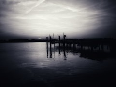 Placid (LAKAN346) Tags: bayside easternshore water sunset dock outdoors nature earth beautiful bnw bw sky reflections samsung mobilephotography