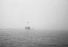 Signal Tower (mswan777) Tags: pier signal tower water river outdoor weather fog mist navigation boat st joseph michigan apple iphone iphoneography mobile monochrome black white ansel seascape