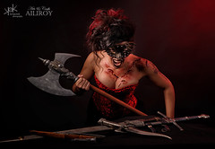 7 Deadly Sins by SpirosK and Ailiroy: Wrath (SpirosK photography) Tags: sevendeadlysins 7deadlysins portrait corset lowkey studio spiroskphotography ailiroy concept conceptual beautiful nikon wrath anger angry weapons wounds war mask goth nails cleavage