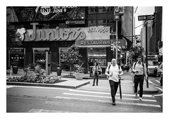 FILM - Junior's Restaurant (fishyfish_arcade) Tags: 35mm analogphotography bw blackwhite blackandwhite canonsureshotz135 filmphotography filmisnotdead hp5 istillshootfilm monochrome newyork analogcamera compact film ilford mono streetphotography restaurant