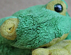 2019 Macro Mondays: Childhood Toys (dominotic) Tags: 2019 macromondays childhoodtoys toyfrog green oneeyedfrog sydney australia