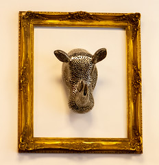 Mounted rhino head by Clive Wells (wells117) Tags: square silver rhino chrome horns inside picture fancy head gold frame goldframe indoors 3d kingslynn norfolk england