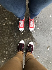 Same but different (Miss Emma Gibbs) Tags: feet pumps trainers sneakers red burgundy velvet cons shoes converse