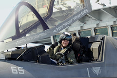 Royal Navy Commander, Nathan Gray in his Lockheed Martin F-35B Lightning II fighter jet gives a celebratory thumbs up after successfully landing on board). (aeroman3) Tags: f35b f35 lightning jsf firstlanding takeoff fastjet integratedtestforce itf carrierstrikegroup csg westlant18 aerial surfaceship aircraftcarrier atlanticnorth queenelizabeth qe arronhoare portsmouth hampshire uk