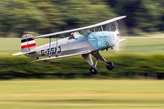 Anna Walker in the Bucker Jungmann (Arommore Images) Tags: propeller landing shuttleworth airdisplay biplane