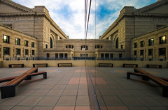 Two Sides of Union Station (KC Mike Day) Tags: station union kansas city missouri reflections sides two mirror architecture brick work bench left right