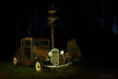 Model A at the Crossroads (dtredinnick13) Tags: modelt night nightphotography lightpainting composite photoshop afterdark car auto ford coastflashlights nikon nikon2470 nikond850 minnesota hotsams antique antiqueauto antiquecar rust decay